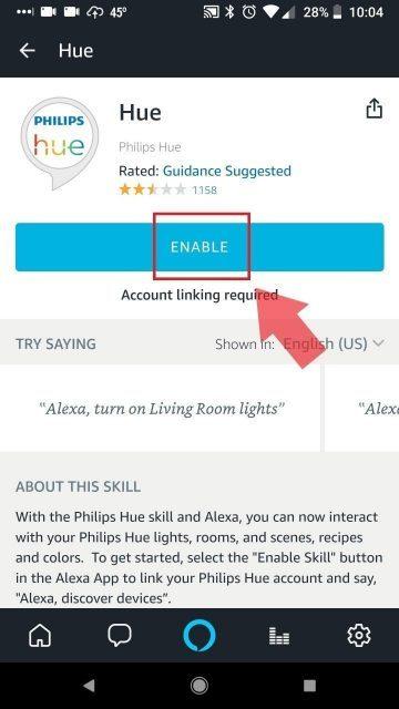 Enable Alexa Hue Skill
