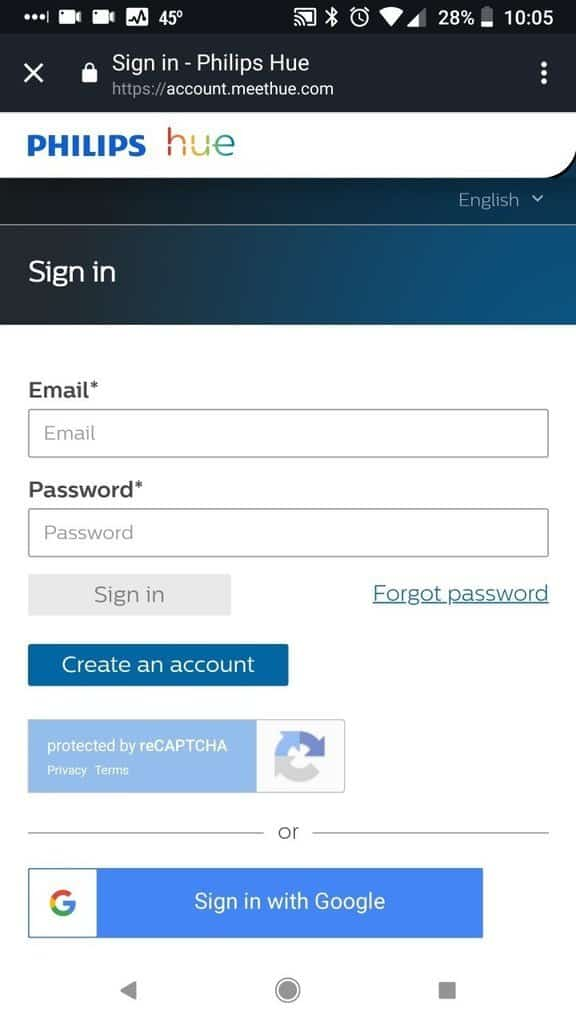 Sign in to Philips Hue Account