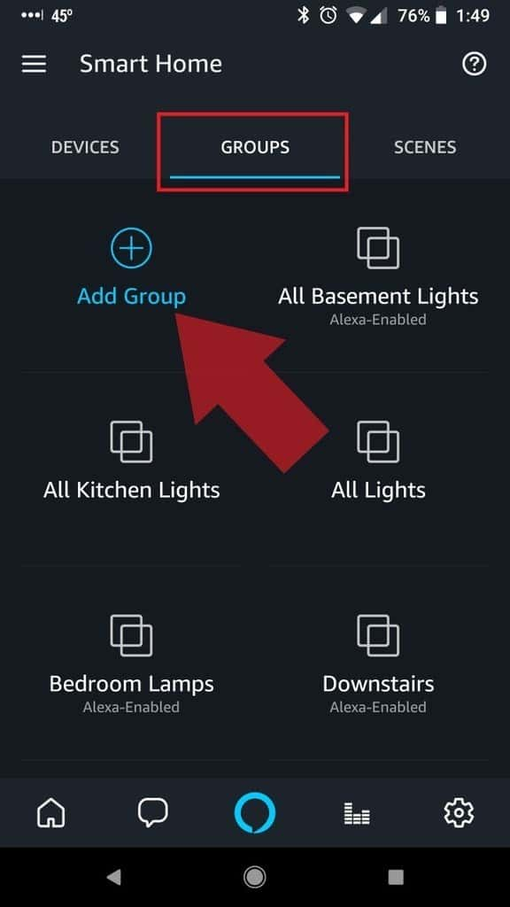 Alexa App Smart Home Groups