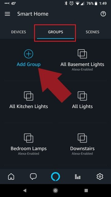 Select Alexa Groups Tab