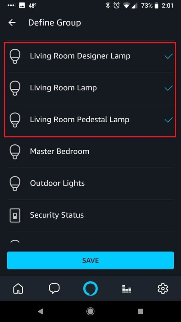 Alexa App Select Smart Home Device