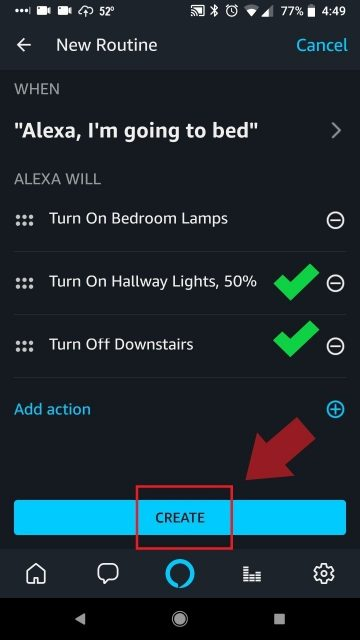 Review Alexa Command and Routine detail