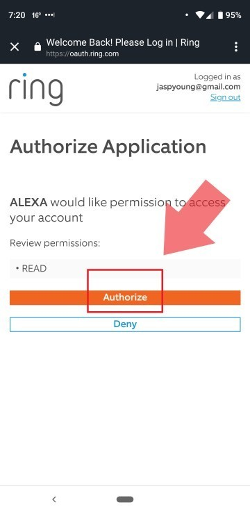 Authorize Ring Skill to connect with Alexa.
