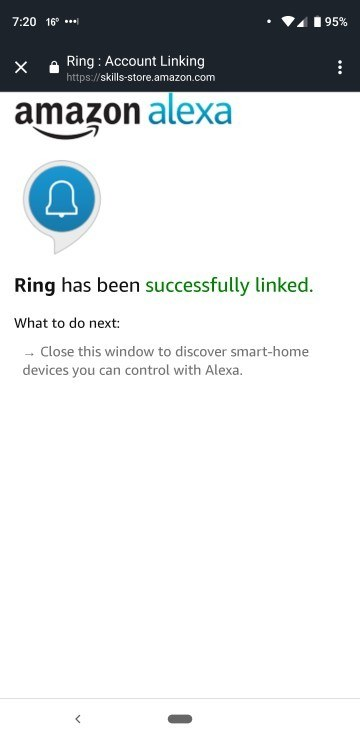 Connect Ring and Alexa Confirmation
