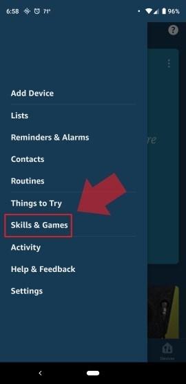 Alexa App Menu Skills