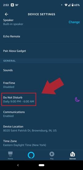 Alexa Do Not Disturb Menu