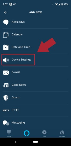 Alexa Routine Device Settings